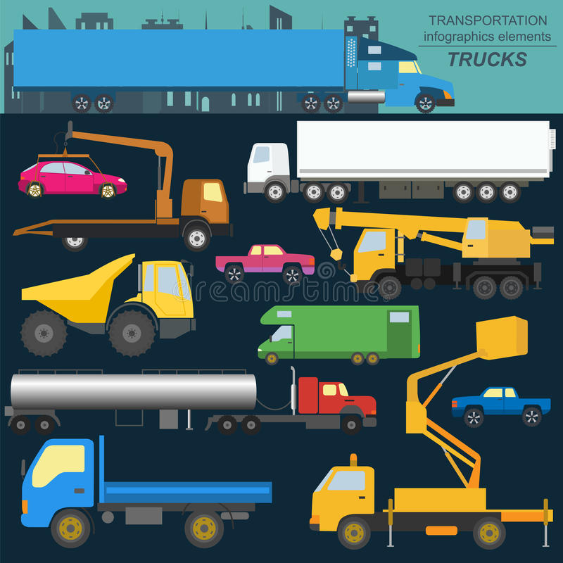 Set of elements cargo transportation: trucks, lorry for creating. Your own infographics or maps. Vector illustration stock illustration