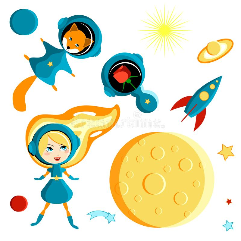 Set of elements for children - a girl, a fox and a rose in space. Cartoon style. Set of elements for children - a girl, a fox and a rose in space. Moon, Sun vector illustration