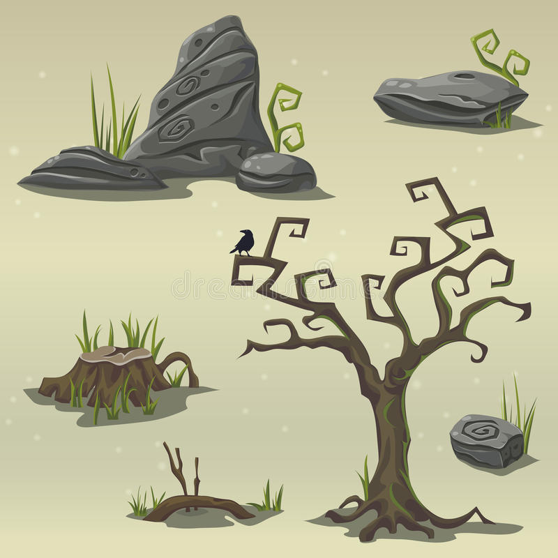 Set elements for computer game location swamp royalty free illustration