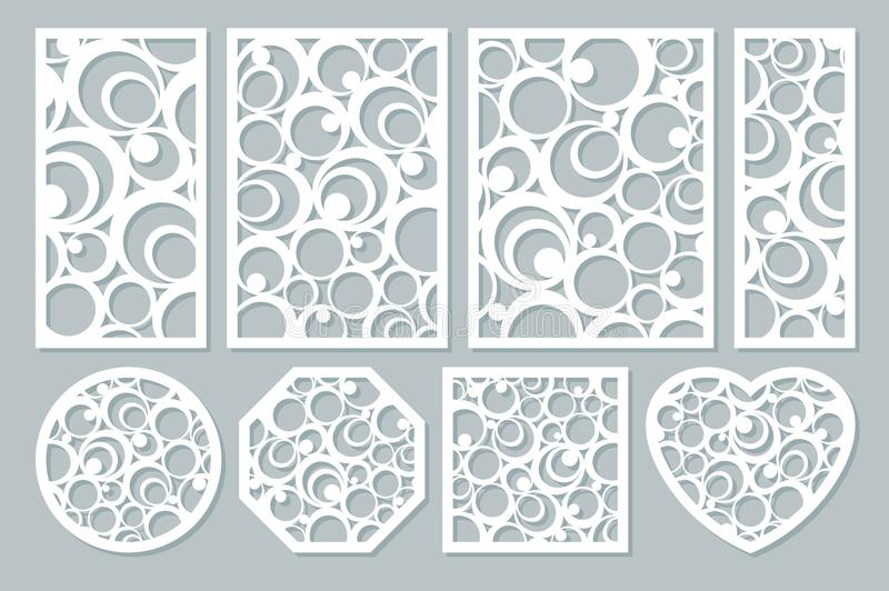 Set elements decorative design. geometric ornament pattern. Map for laser cutting. circular pattern. Vector illustration vector illustration