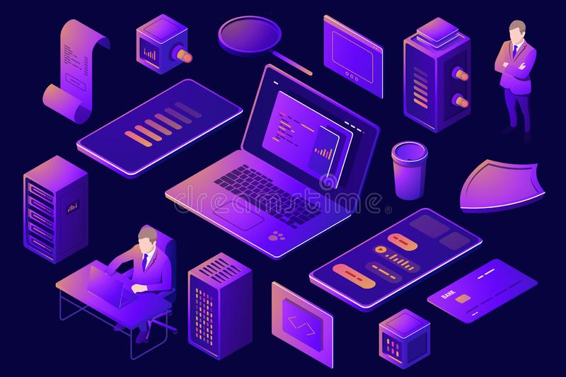 Set of elements for design of digital technology, server room rack farm, isometric people, young man programmer with vector illustration