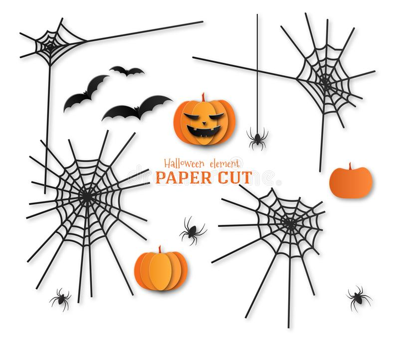 Set Elements for design in paper cut style. Halloween template. Pumpkin, bat, spider, cobweb.  vector illustration