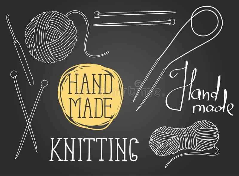 Set of elements for design. Skeins of thread, needles, hook vector illustration