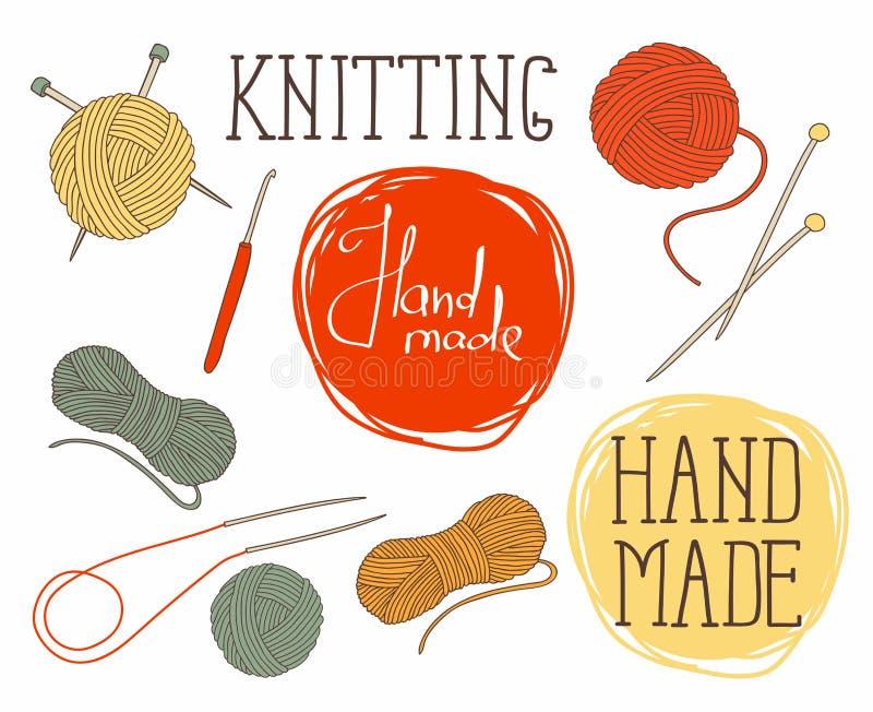 Set of elements for design - skeins of thread, needles, hook.  royalty free illustration