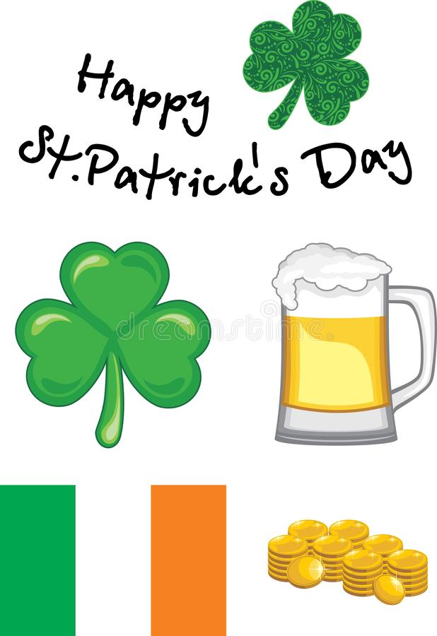 Set of elements for the design to the day of St. Patrick stock photos