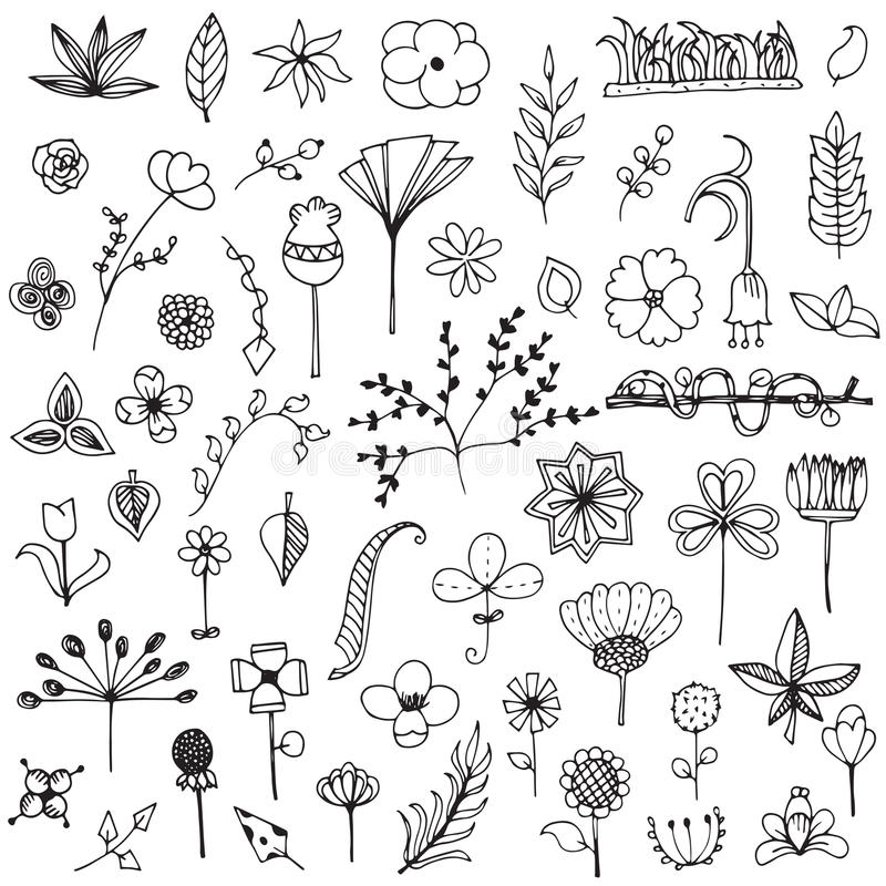 Set of elements flower doodle hand drawn sketch in black line on white isolated. Flower doodle hand drawn sketch in black line on white isolated eps 10 royalty free illustration