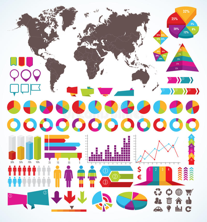 Set of elements for infographic stock illustration