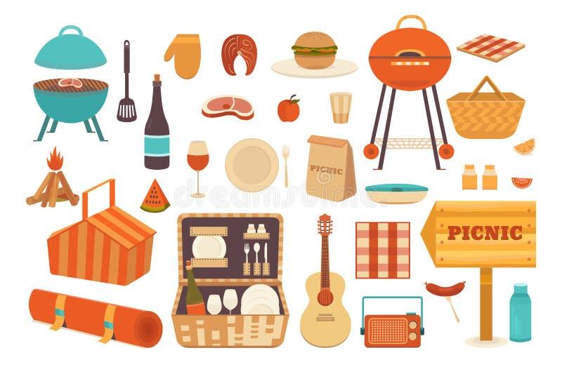 Set of elements for picnic stock illustration