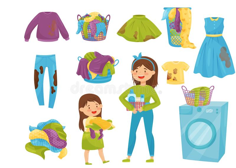 Flat vector set of laundry icons. Baskets with dirty clothes. Washing machine. Cartoon girls doing household chores. Set of elements related to laundry theme stock illustration