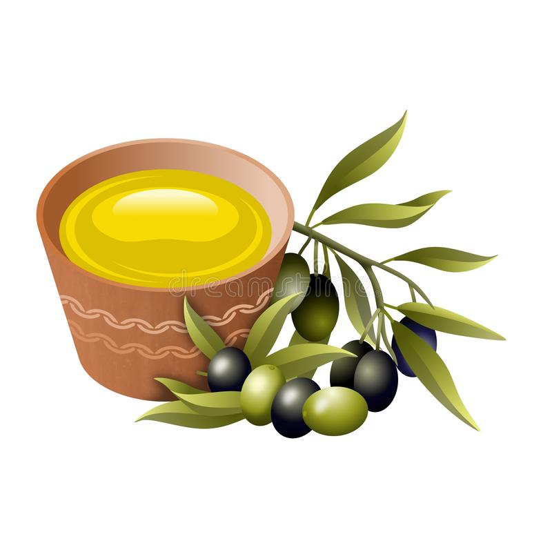 Set of elements related to olive oil and olives, isolated on white background. Illustration. Set of elements related to olive oil and olives, isolated on white vector illustration
