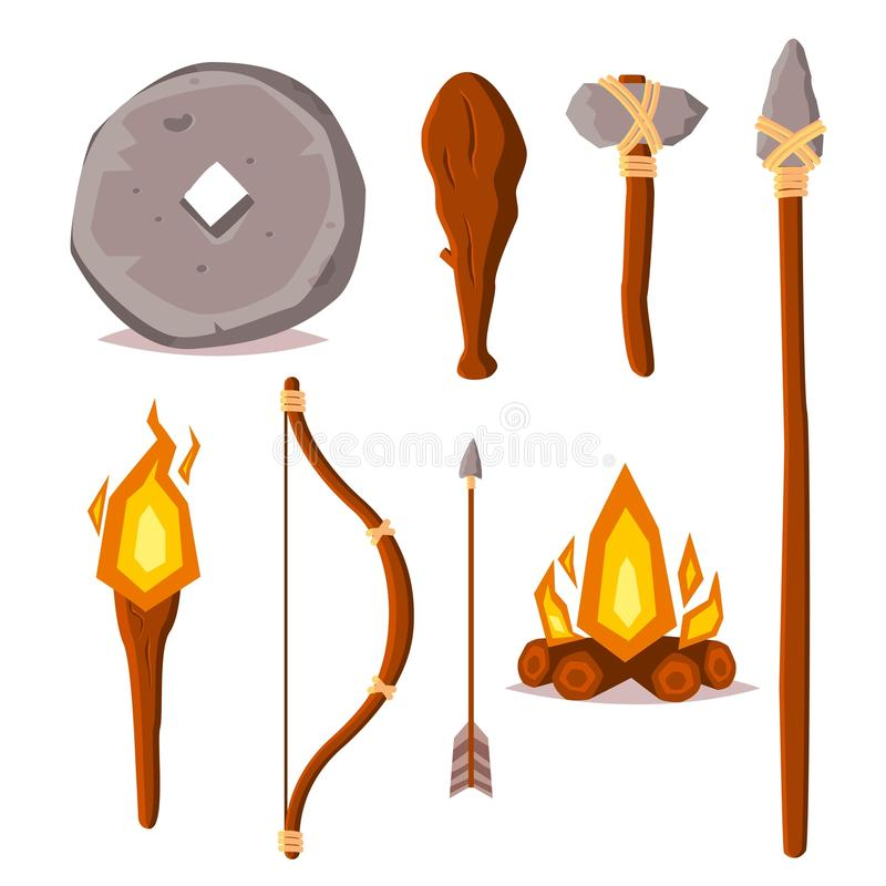 A set of elements of the Stone Age. Cartoon style illustration. Stone wheel, spear, ax, wooden bob, torch, bow, arrow and fire. Pr. Imitive technology and stock illustration