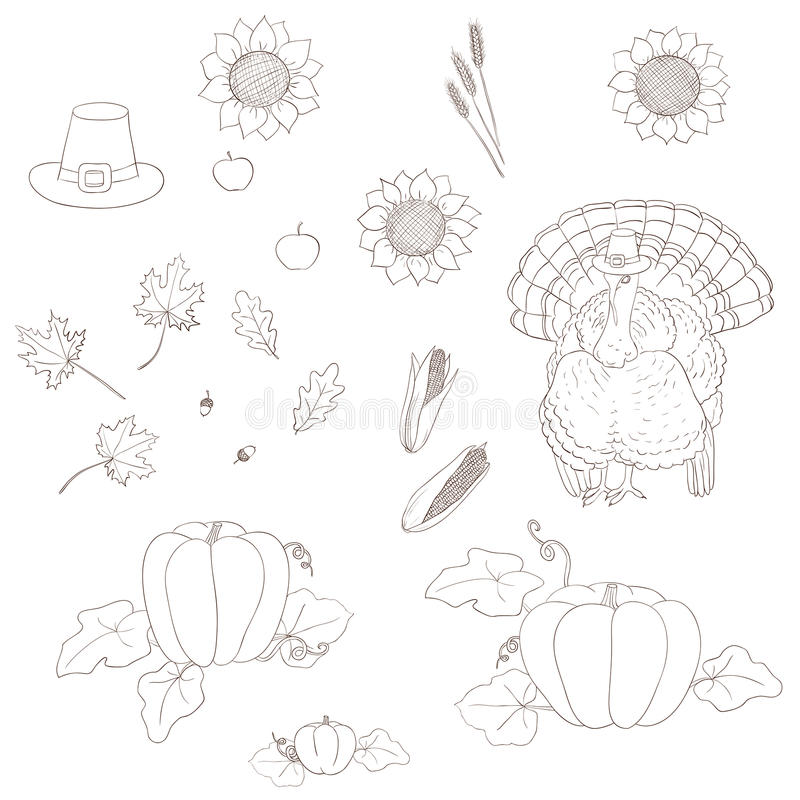 Set of elements for Thanksgiving. royalty free illustration