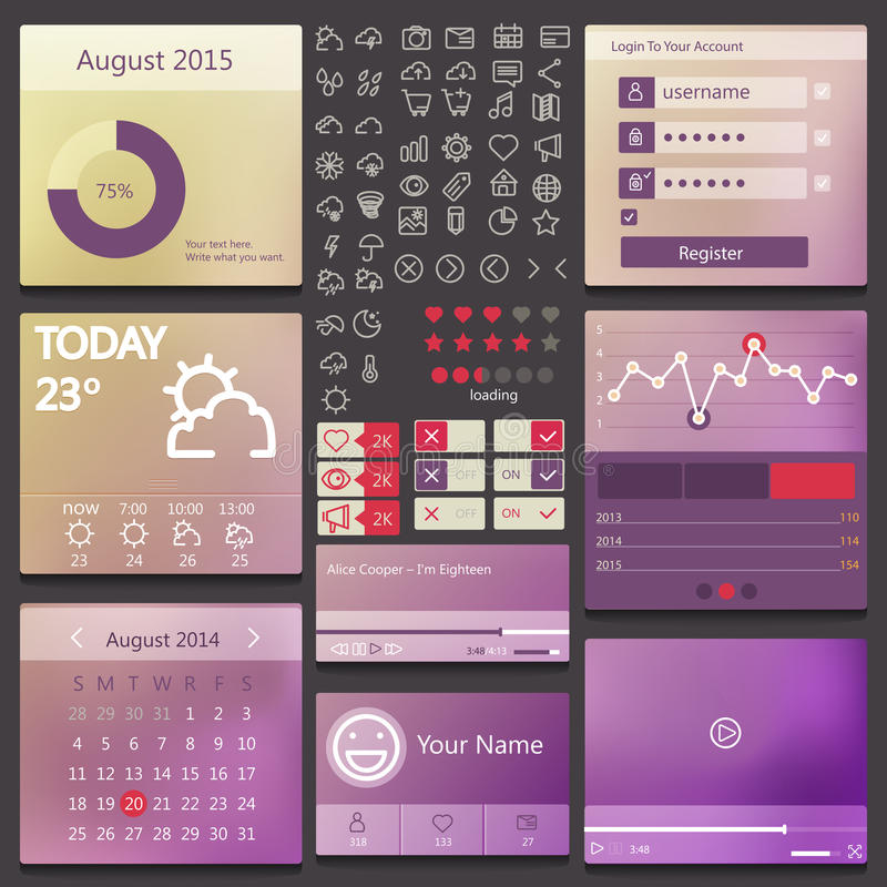Set elements used for user interface royalty free illustration