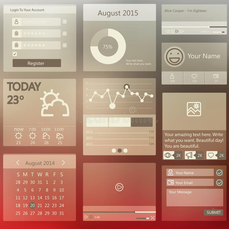 Set elements used for user interface. Set of various elements used for user interface stock illustration