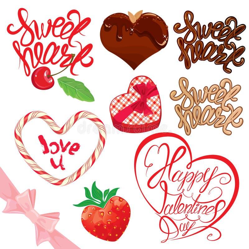 Set of elements for Valentines day design. royalty free illustration