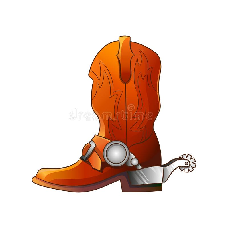 Set of elements of the Wild West. The equipment of cowboys. Boots with spurs. stock illustration