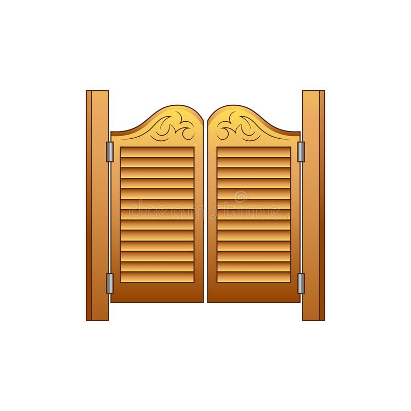 Set of elements of the Wild West. The equipment of cowboys. The door to the saloon. royalty free illustration