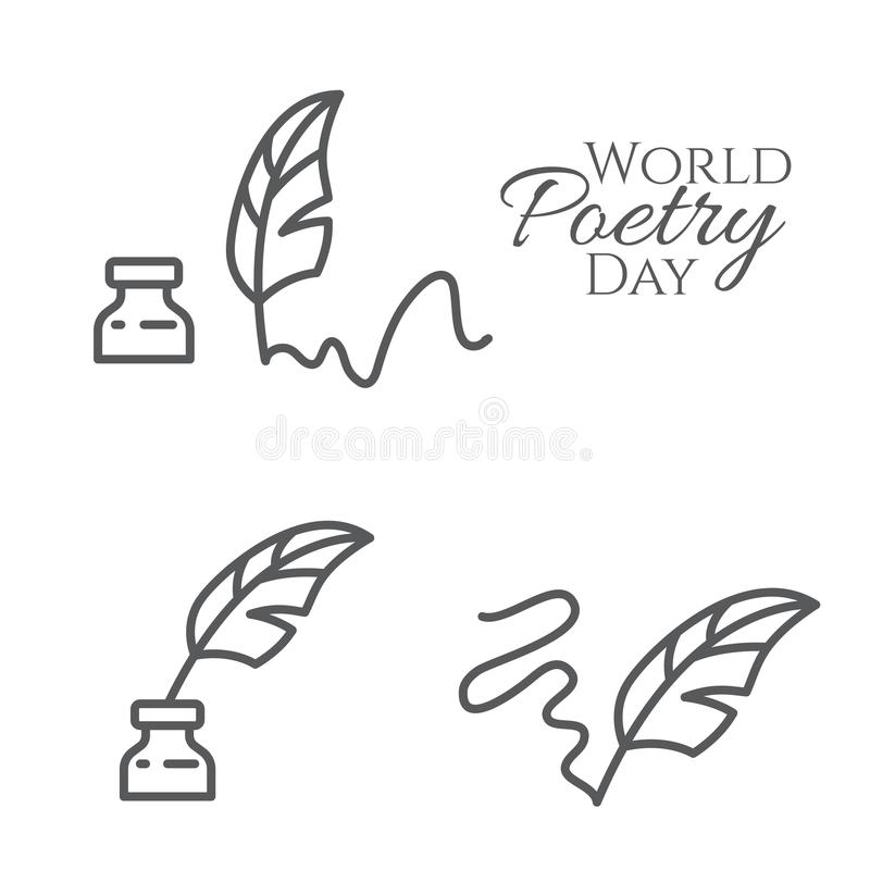 Set of elements for world poetry day banner with outline feather and inkwell isolated on white background. Set of elements for world poetry day banner with vector illustration