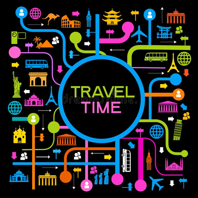 Set elementy dla podróży i wakacji royalty ilustracja