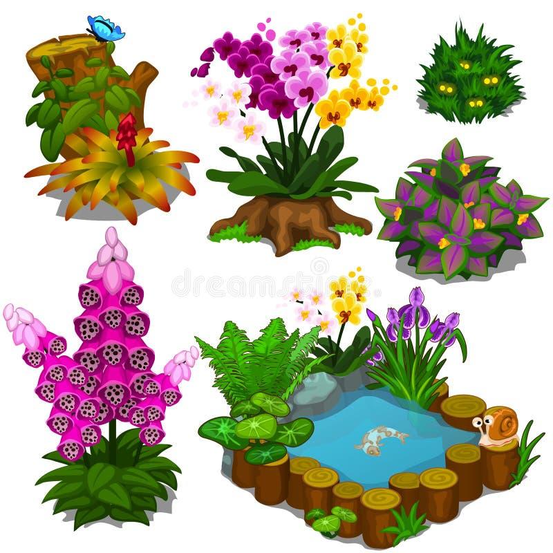 Set elementy dla projekta ogródu lub pola bramkowego zdjęcia royalty free