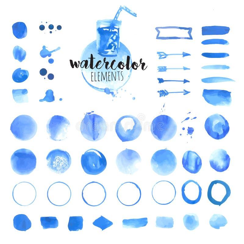 Set elementy, muśnięcia, pluśnięcie, ramy, plamy, faborki, wzór i tło ręki rysujący akwareli, royalty ilustracja