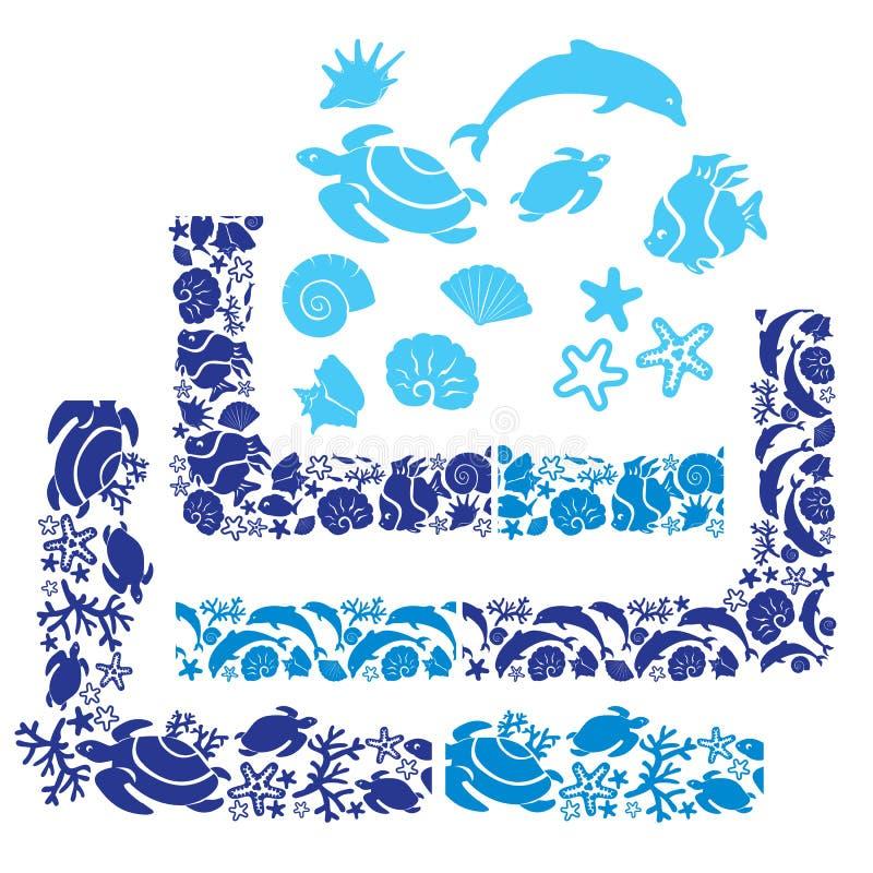 Set elementy, osacza i graniczy z Podwodnym życiem royalty ilustracja