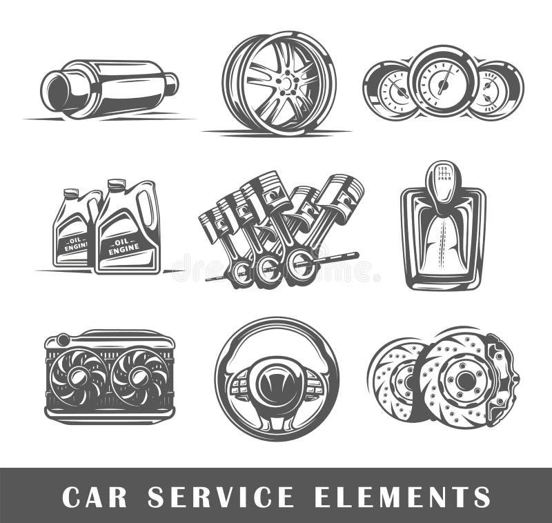 Set elementy samochód usługa ilustracji