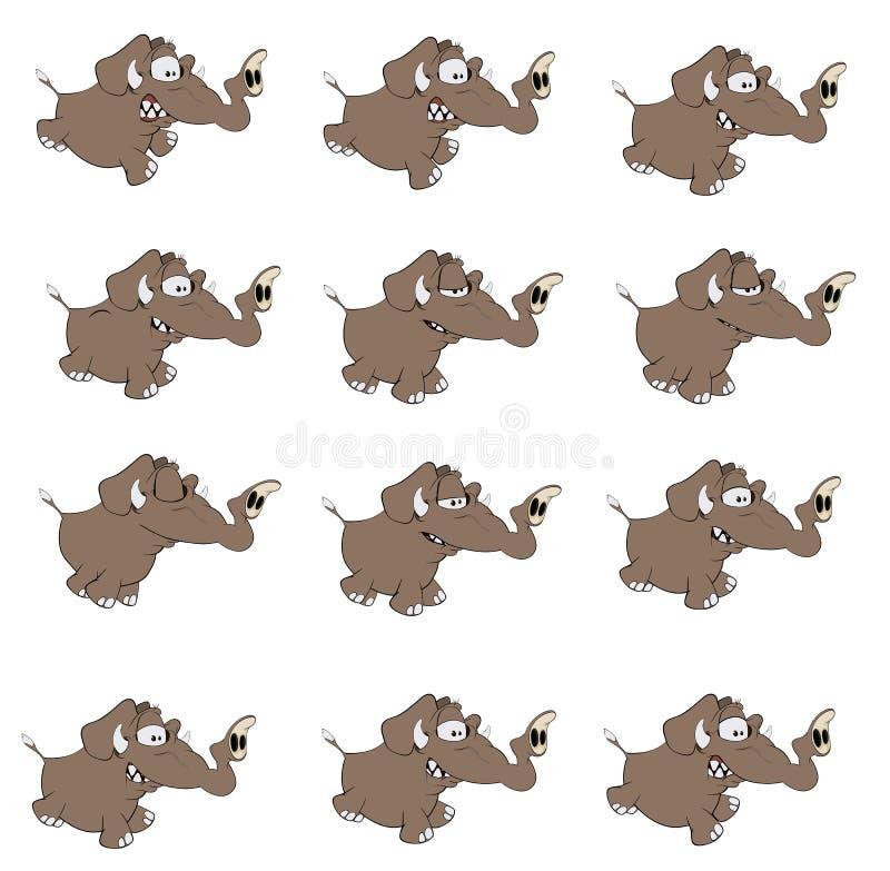 Set of elephants cartoon. Set of various running elephants vector illustration