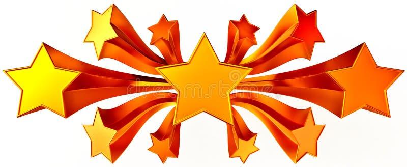 Set of eleven shiny gold stars in motion. A set of eleven shiny stars in motion for advertise vector illustration