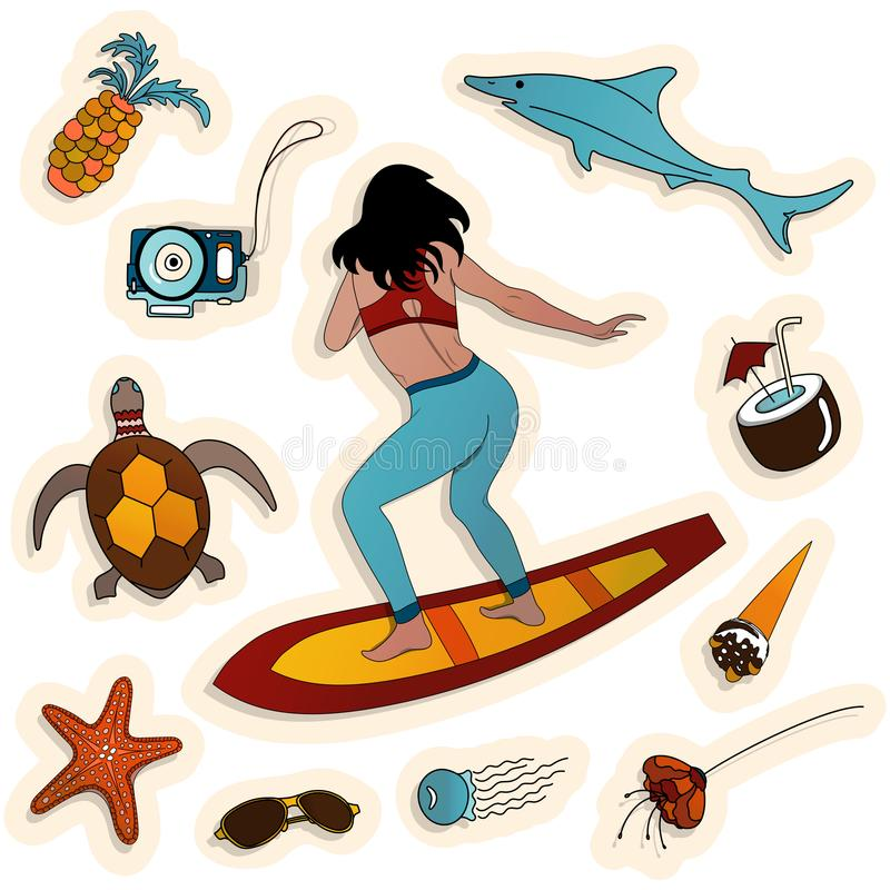 Set of eleven stickers with a sea wave, flower, a girl on a surfboard, marine life and attributes of a beach holiday. royalty free stock photo
