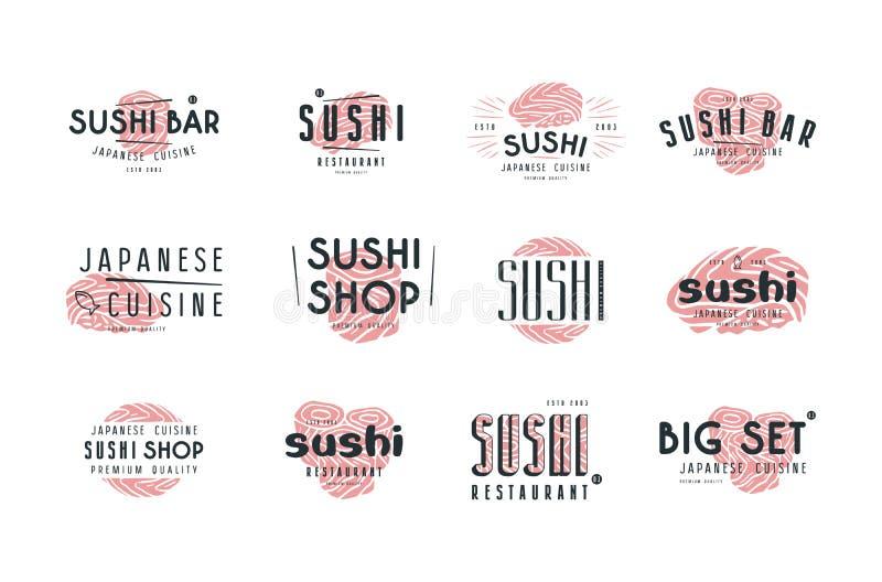 Set emblematy i logo dla suszi baru, sklepu i restauraci, ilustracja wektor