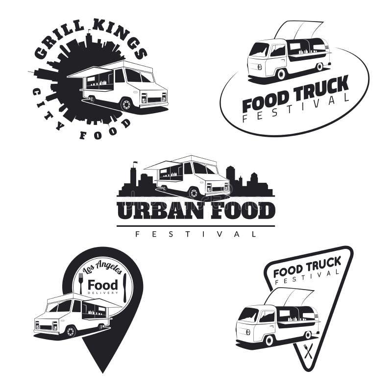Set emblematy, ikony i odznaki jedzenie ciężarówki, Miastowy, uliczny jedzenie, ilustracji