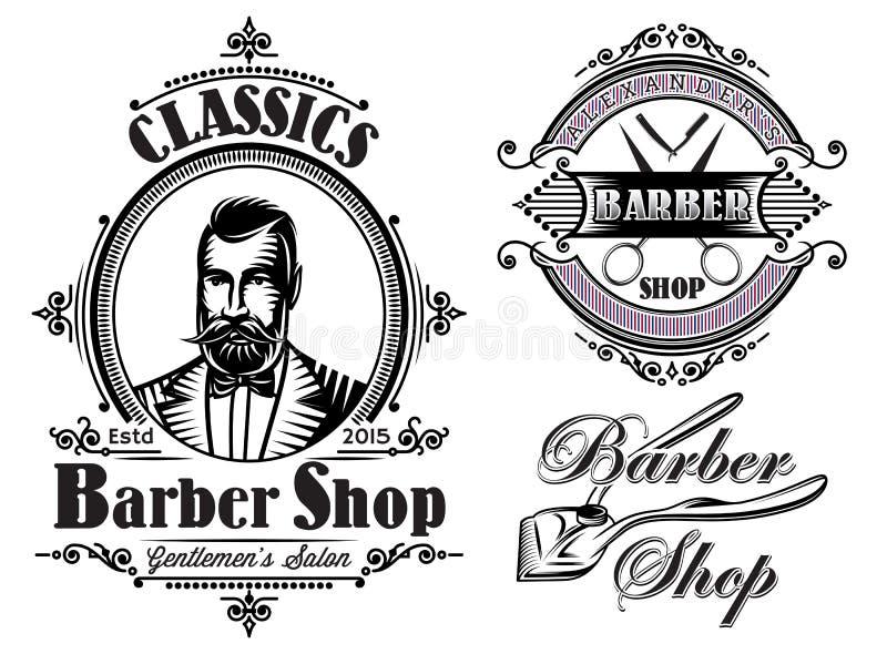 Set emblematy na tematu fryzjera męskiego sklepie royalty ilustracja
