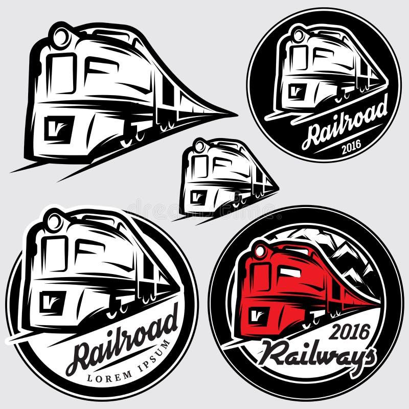 Set emblematy w retro stylu z lokomotywami i linią kolejową royalty ilustracja