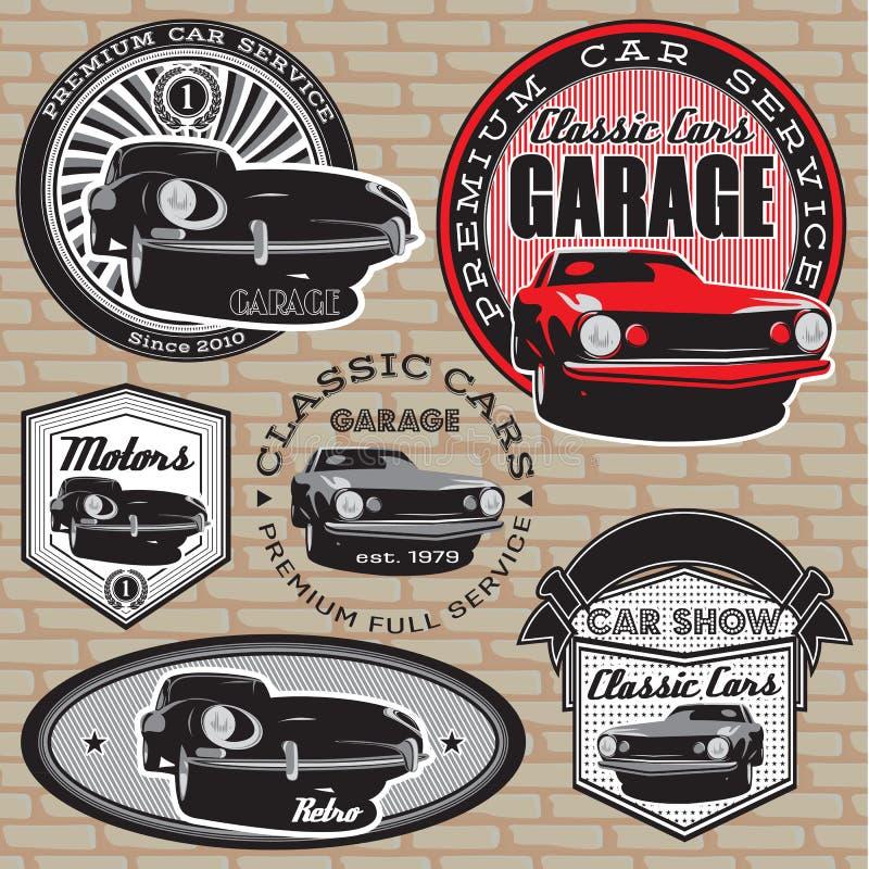 Set emblematy z retro samochodem na ścianie ilustracja wektor