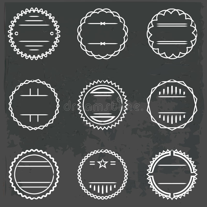 Set of emblems and badges. Vector set of emblems and badges in outline style stock illustration
