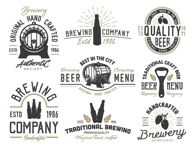 Set emblems with beer objects vector illustration