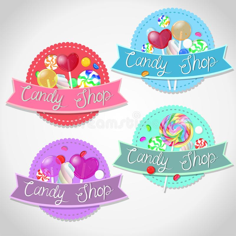 Set of emblems candy shop. Isolated emblems on a white background. Vector graphics vector illustration