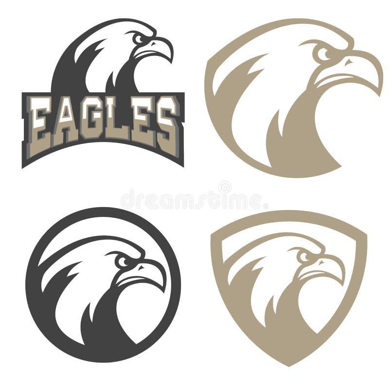 Set of emblems with eagles head. Sport team mascot. Design element for logo, label, emblem, sign, badge. Vector illustration vector illustration