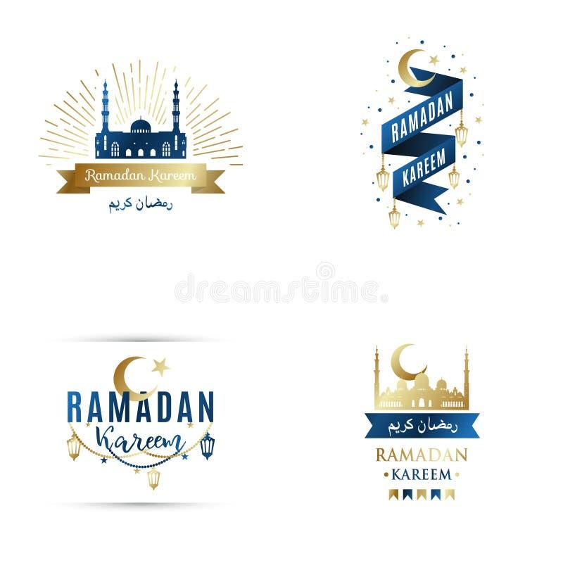 Set of emblems for islamic holy holiday Ramadan Kareem. stock illustration