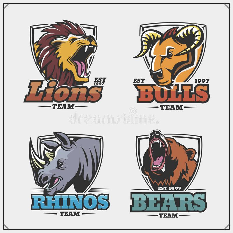 Set of emblems with lion, rhino, bear and bull for a sport team. Black and white vector illustration