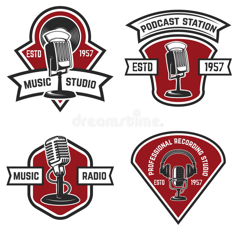 Set of emblems with old style microphone isolated on white back. Ground. Design elements for logo, label, sign. Vector illustration stock illustration