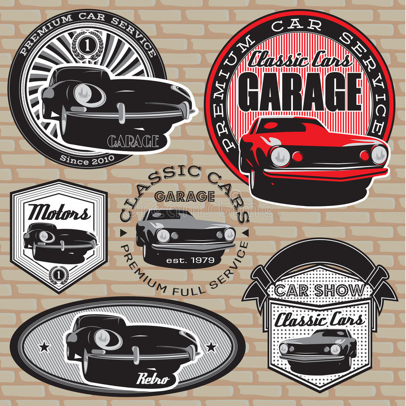 Set of emblems with retro car on wall vector illustration