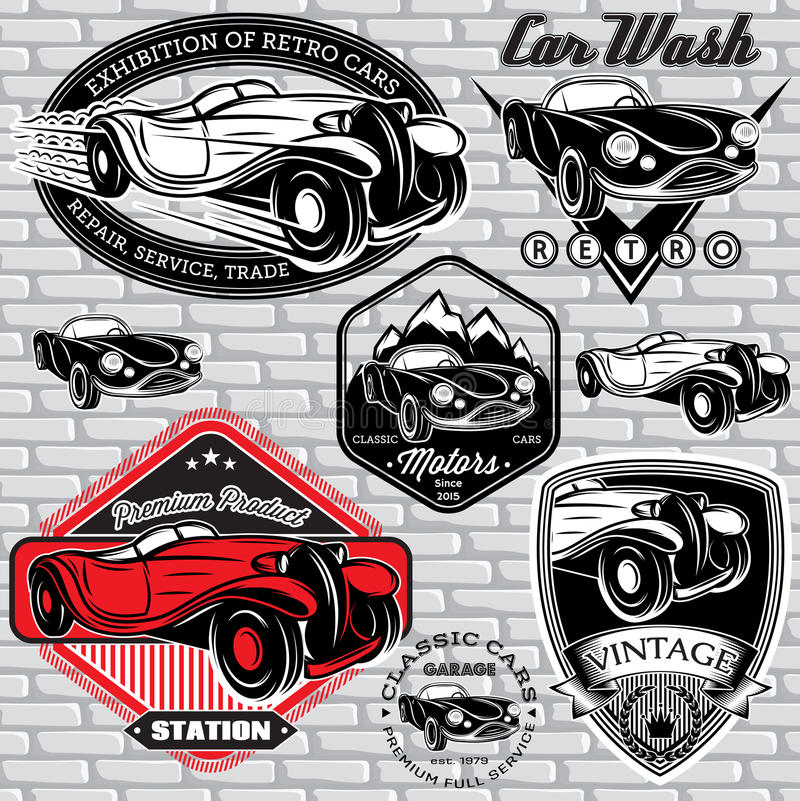 Set of emblems with retro car on wall stock illustration
