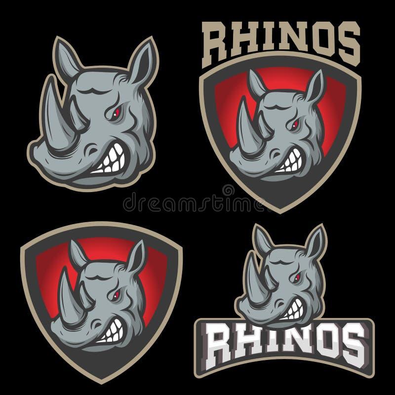 Set of emblems with rhino head. Sport team mascot. Set of emblems with angry rhino head. Sport team mascot. Design element for logo, label, emblem, sign, badge royalty free illustration