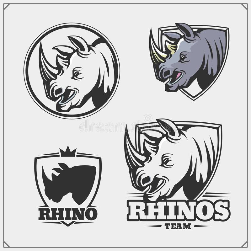 Set of emblems with rhino for a sport team. Black and white vector illustration