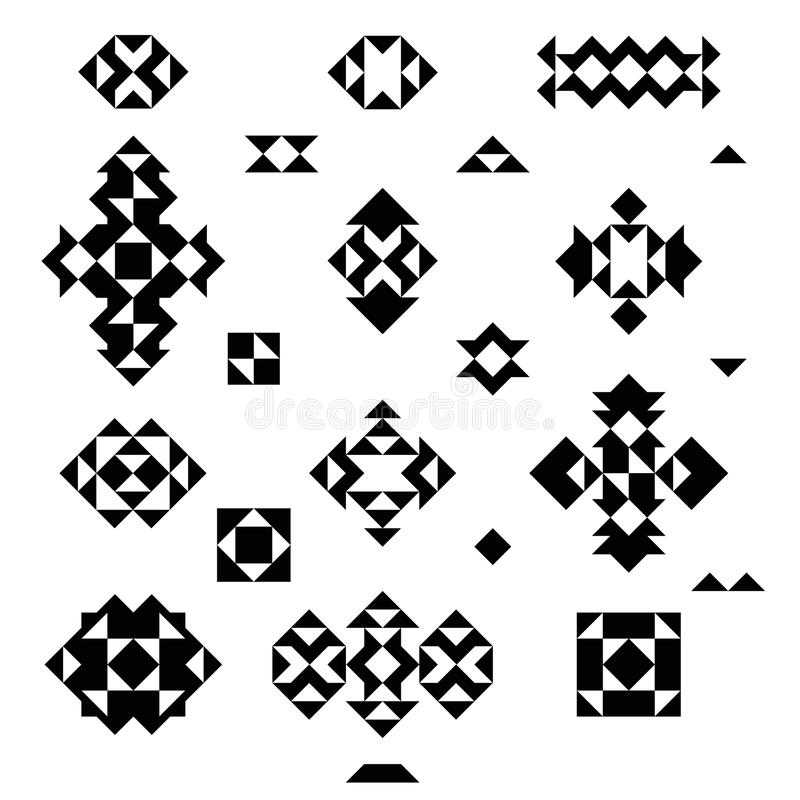 Set of emblems from triangles. Tribal logos. On white background. Ethnic motif. Vector eps 10 vector illustration