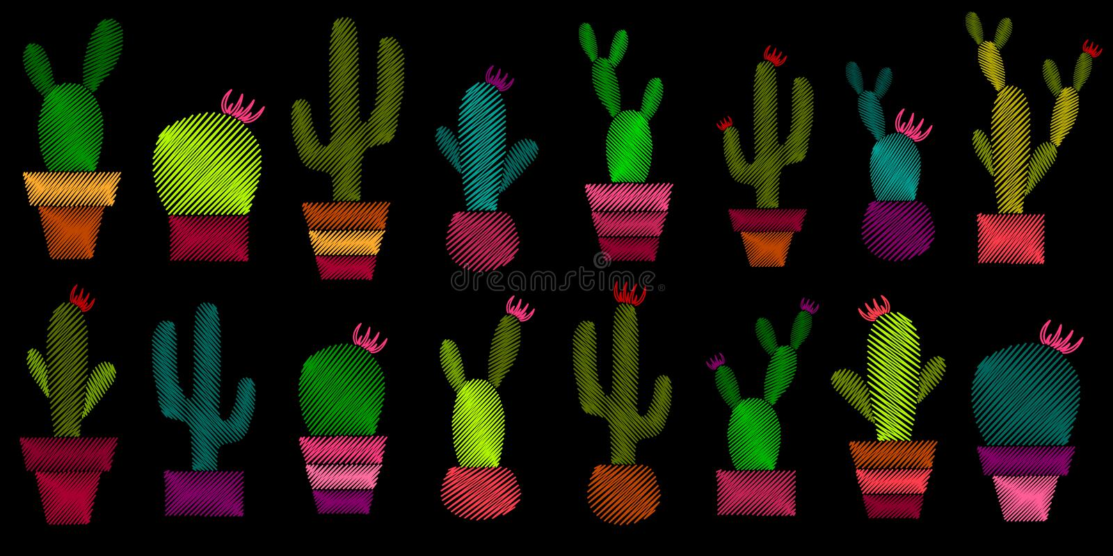 Set of embroidered cacti. vector illustration