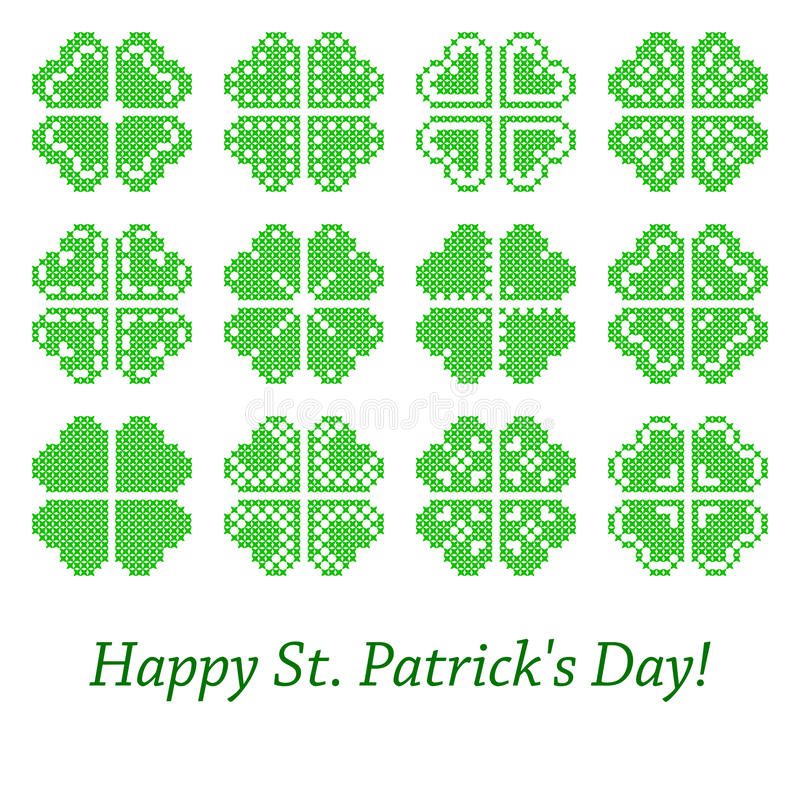Download Set Of Embroidered Leaves For Holiday Of  St. Patrick's Day Stock Vector - Illustration of abstract, decorative: 68482195
