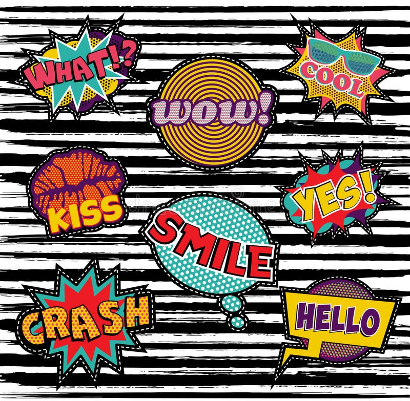 Set of embroidery text patch with pop art elements vector illustration